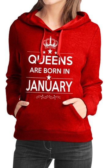 queens are born in january red girls hoodie