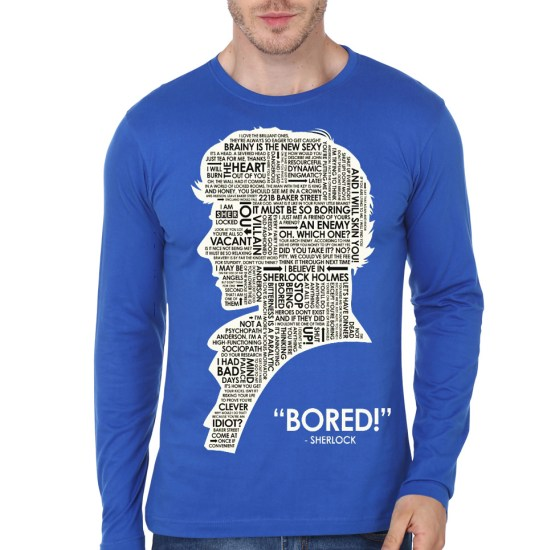 sherlock holmes bored blue full sleeve t-shirt