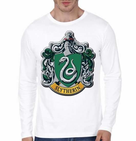 slytherin white full lseeve tshirt