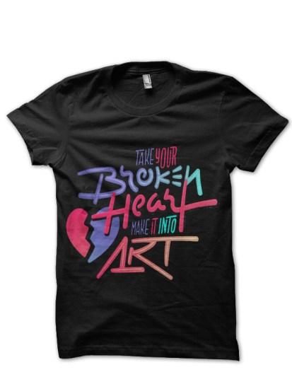 broken heart black tshirt
