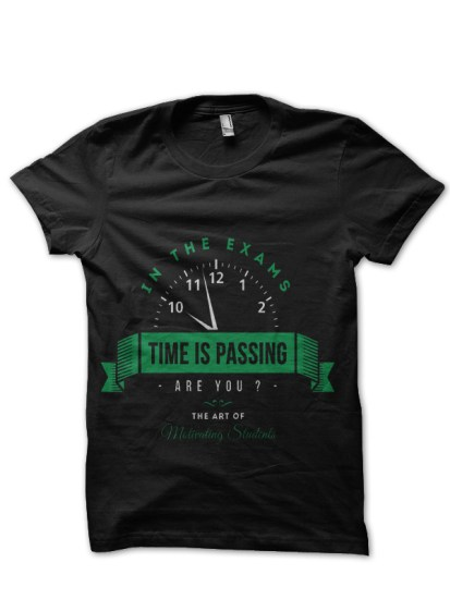 time is pasing black tshirt
