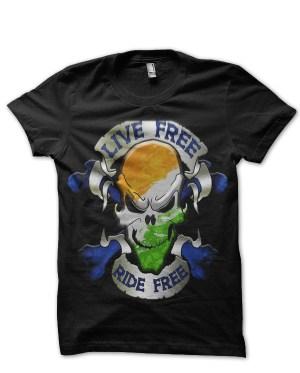 live free ride free bike indian flag skull black tshirt