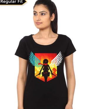 Attack on Titans girl's Black T-Shirt