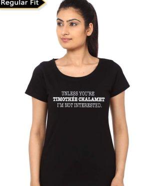 Timothée Chalamet Girls Black T-Shirt