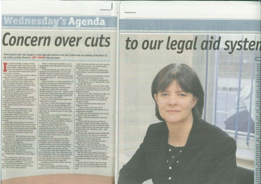 Samantha Lee, expert family lawyer is pictured in The News, Portsmouth talking about legal aid cuts to family law