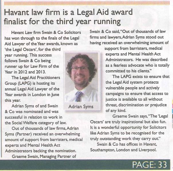 Legal Aid award finalist