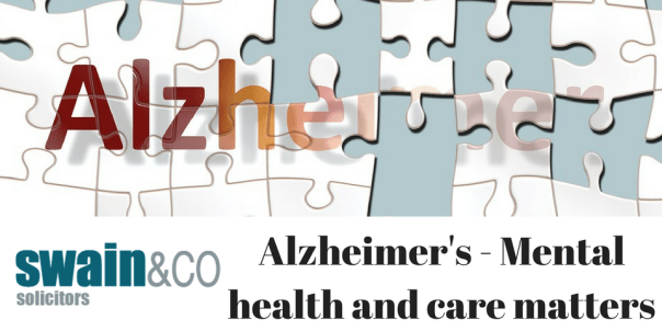 Alzheimer's depicted by the word as a jisaw with missing pieces and fading pieces. Swain & Co Solicitors News