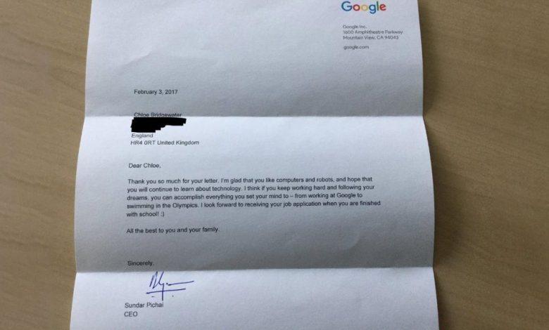رئيس جوجل التنفيذي يرد على خطاب طفلة عمرها 7 سنوات تتطلّع للعمل في جوجل 1