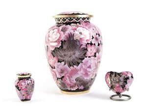 Elite Cloisonne Floral Blush Cremation Urn