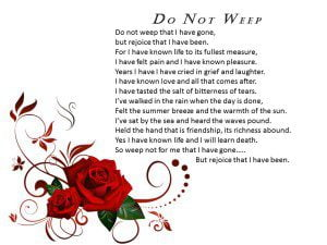 Funeral Poem Do Not Weep