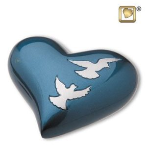 Flying Doves Heart Keepsake Urn