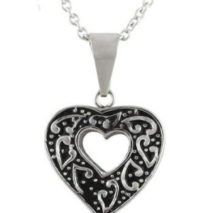 Cut Out Heart Ash Pendant Stainless Steel