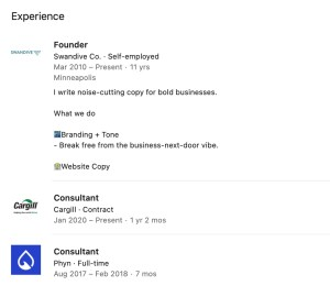 screenshot of linkedin profile with contract work listed