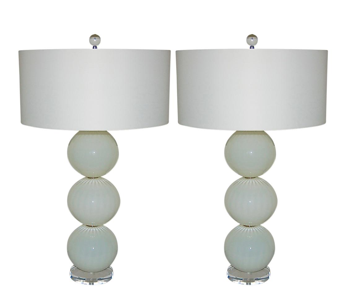 Joe Cariati Hand Blown Glass Table Lamps White Swank Lighting