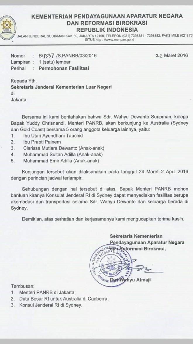 Surat Sekretaris KemenPAN-RB Minta Fasilitas untuk Kolega Yuddy Chrisnandy