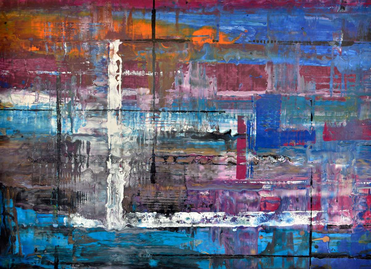 Large Blue Abstract Painting Called Bolt From The Blue By Swarez Art