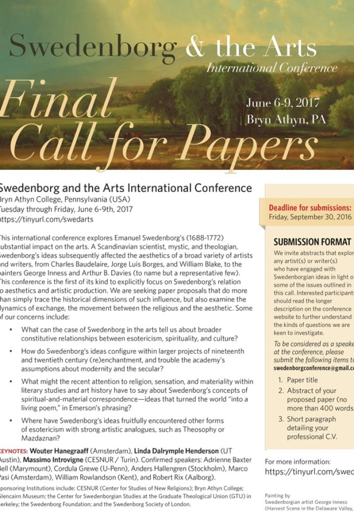 call for papers swedenborg and the arts