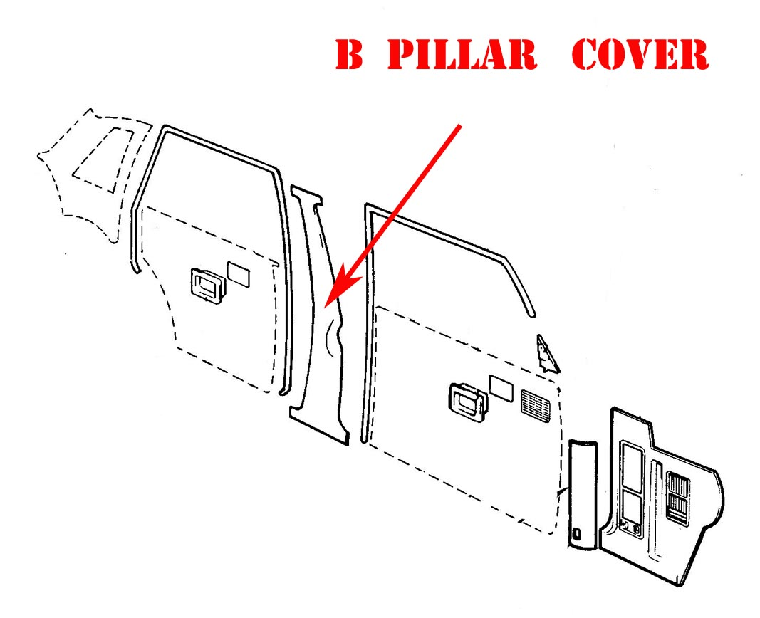 Volvo 240 Interior B Pillar Seat Belt Panel Black Color