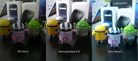 Samsung Galaxy S III front camera vs Sony Xperia S and HTC One X