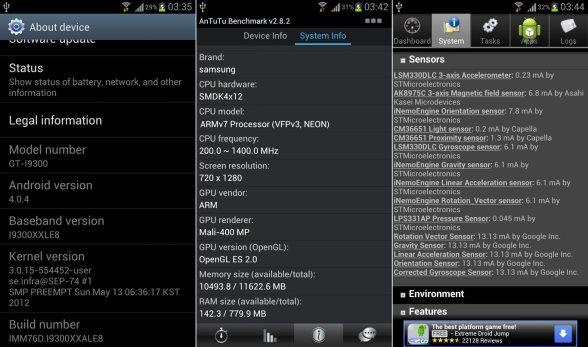 Samsung Galaxy S III system info