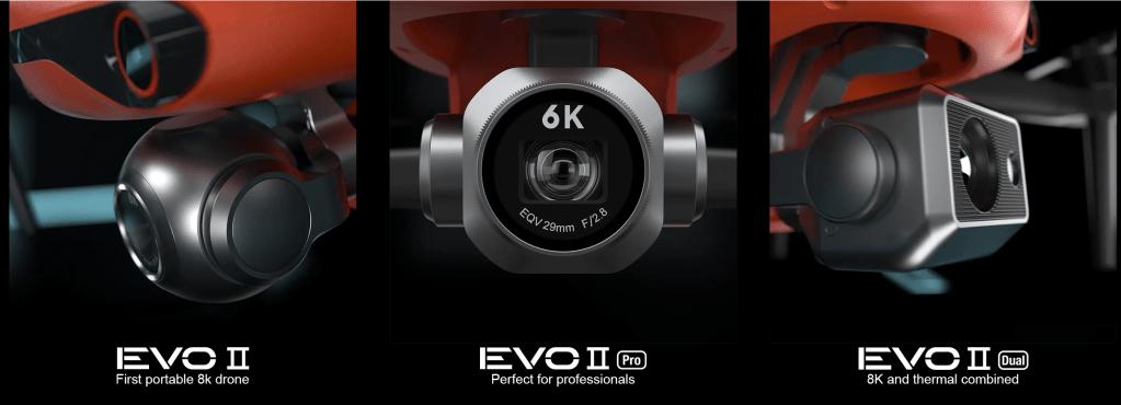 Autel EVO 2 med tre olika kameraalternativ.
