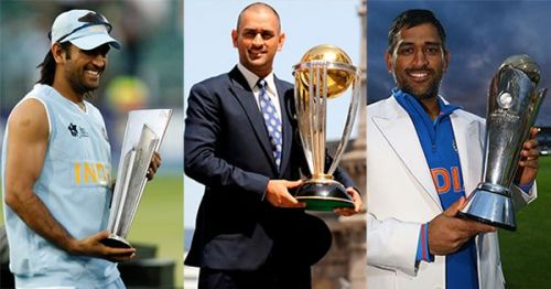 MS Dhoni with all three ICC trophies
