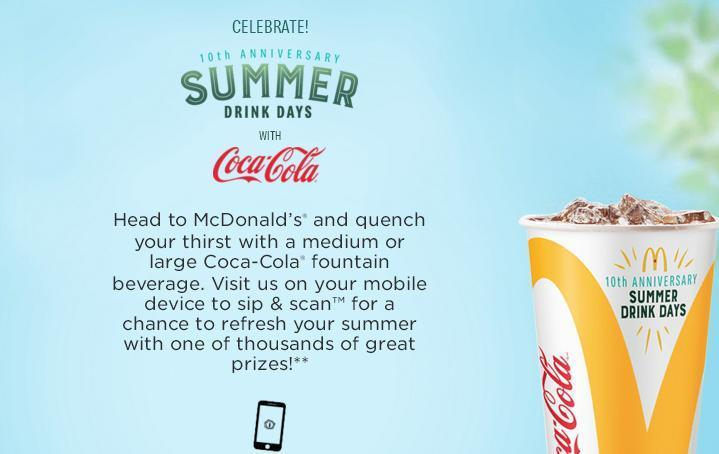 Coca-Cola And McDonalds Summer Drink Days Sweepstakes