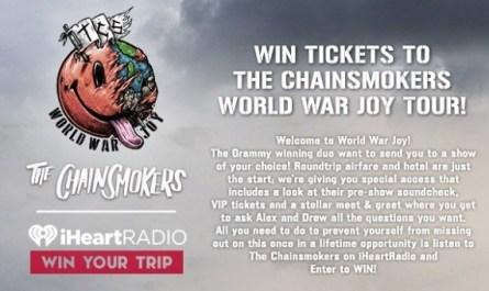 The Chainsmokers World War Joy Tour Sweepstakes