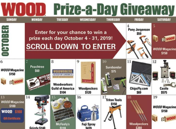 WOOD Magazine Prize A Day Giveaway
