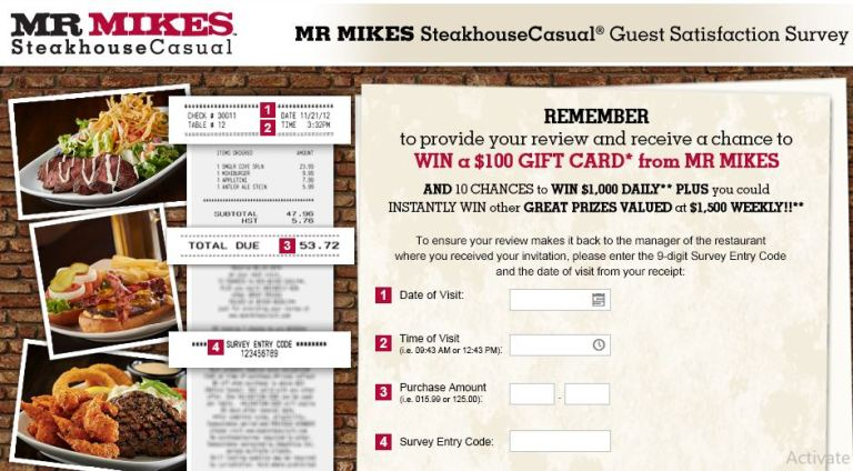 MR MIKES Guest Satisfaction Survey - Win Gift Card