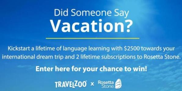 Travelzoo Rosetta Stone Sweepstakes – Chance To Win Trip