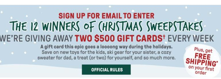Sierra Holiday 2019 Sweepstakes - Win Gift Card