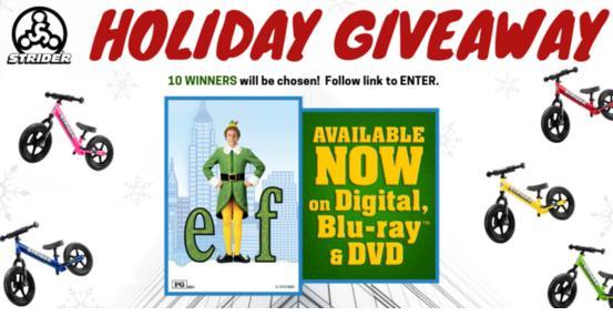 Strider Bikes Elf Blu ray Movie Giveaway - Win Prize