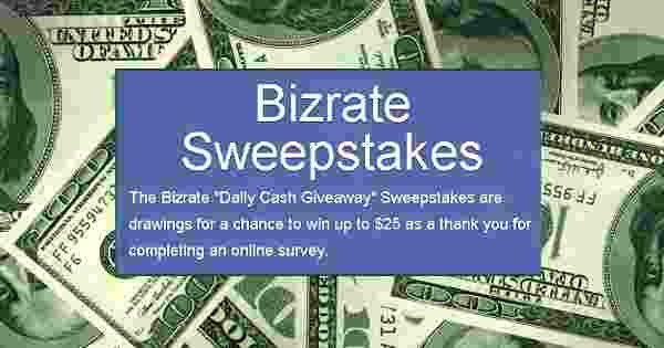Bizrate Daily Cash Giveaway - Win Cash Prizes