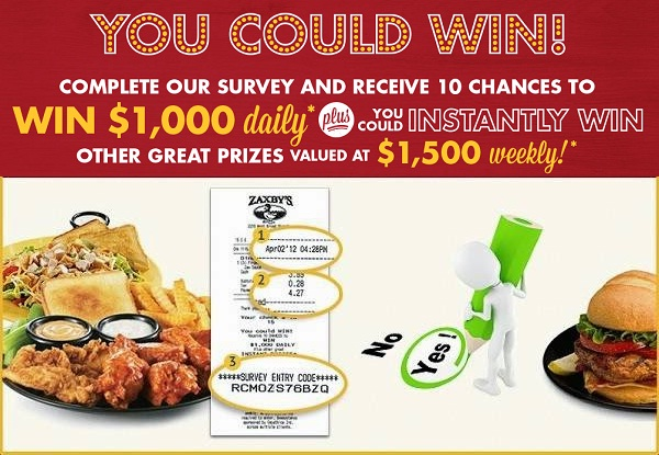 My Zaxbys Visit Survey Sweepstakes - Win Cash Prizes