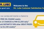 Tell Mr Lube Customer Satisfaction Survey - Win Cash Prizes