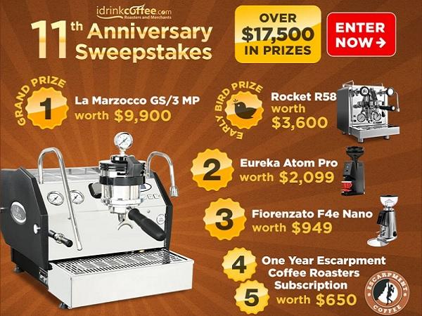 iDrinkCoffee.com 11th Anniversary Sweepstakes - Win Prize