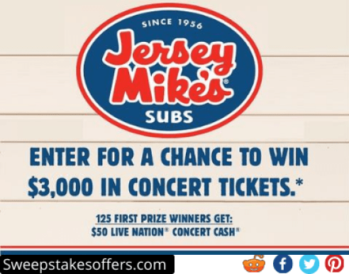 Jersey Mikes Live Nation Concerts Tickets Sweepstakes