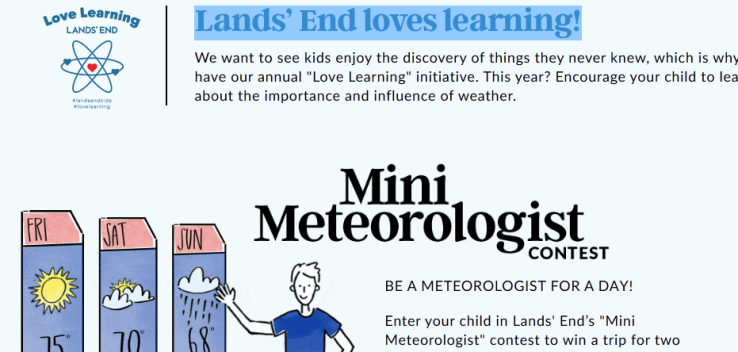 Lands End Meteorologist Contest