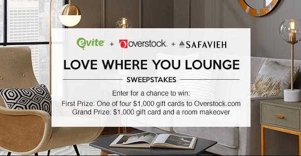 Evite Love Where You Lounge Sweepstakes