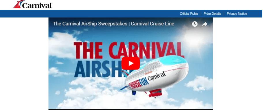 Carnival Cruise Line Choose Fun Sweepstakes