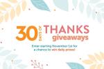 HGTV 30 Days of Thanks Giveaways