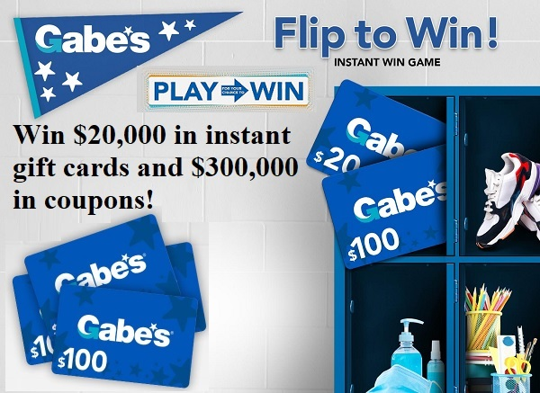 Gabe's Stores Flip to Win Instant Win Game