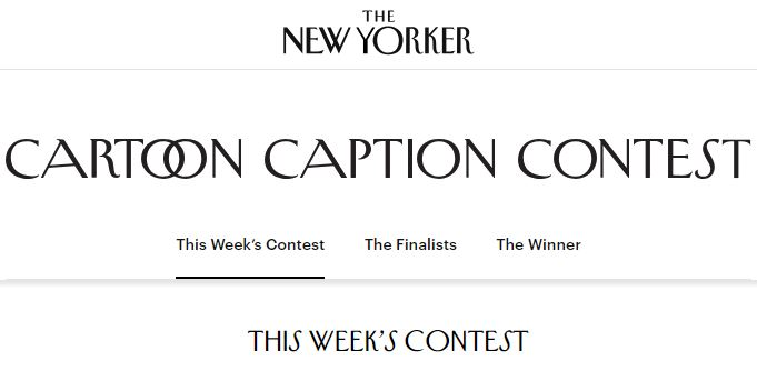 The New Yorker Cartoon Caption Contest 2020