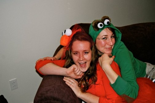 Jess and Linz in Sesame Street Costumes