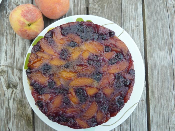 Blueberry Peach Upside Down Cake 9