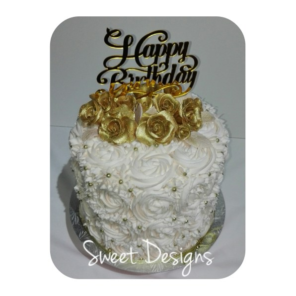 Buttercream Birthday Cake with Gold Gumpaste Roses