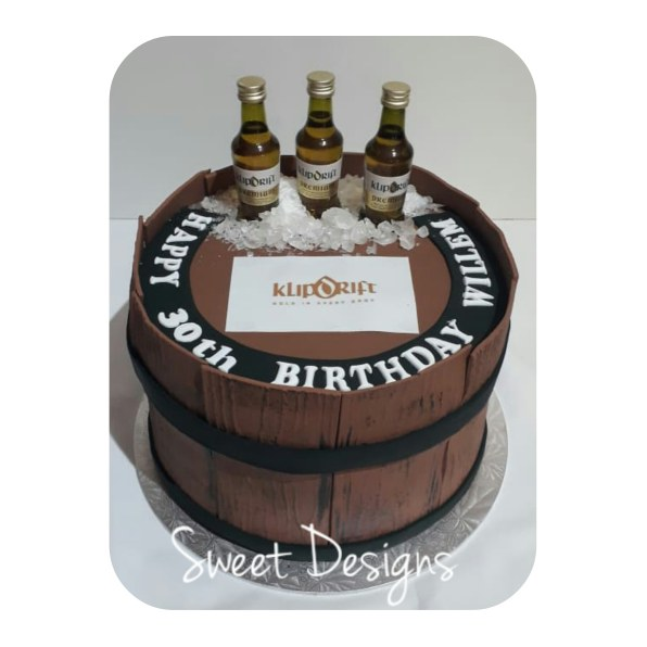 Barrel Cake with small bottles of Brandy