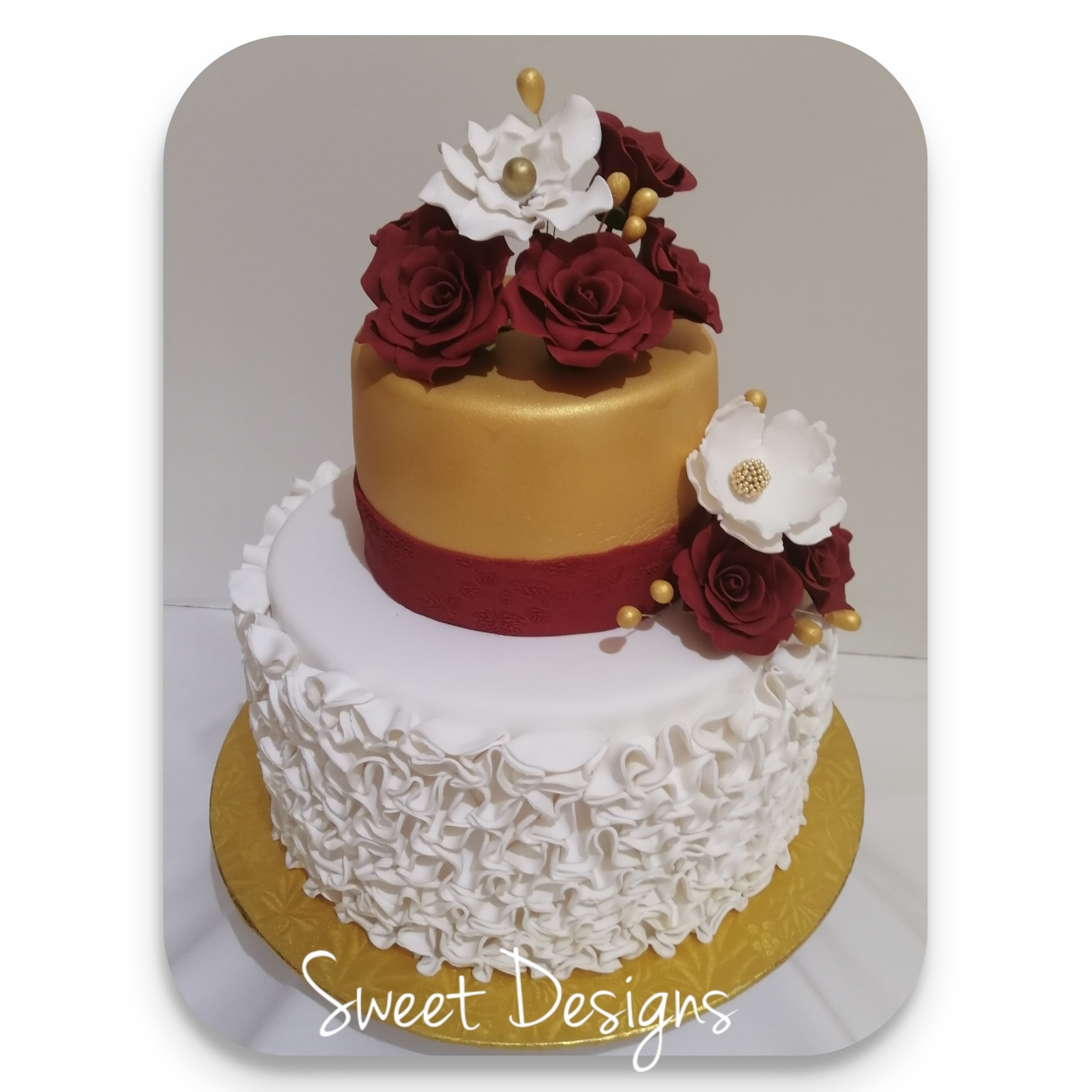 Wedding Gold, White and Red Cake with Gumpaste Flowers