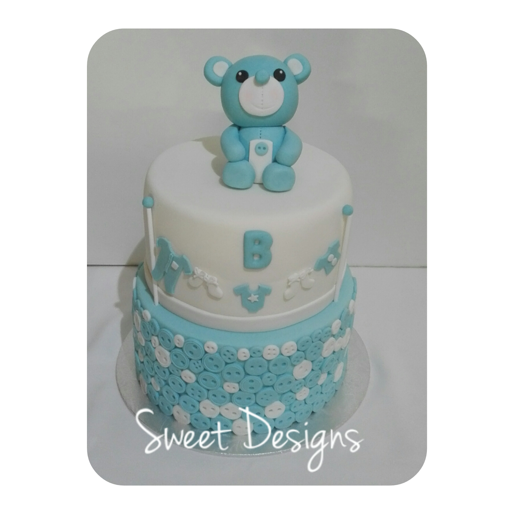 2Tier Baby Cake with Little Bear Cake Topper